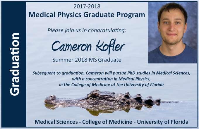 Cameron Kofler Masters Graduation Announcment