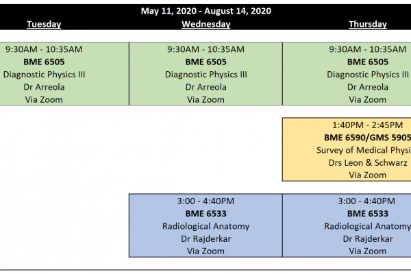 2020 Summer Schedule of Courses