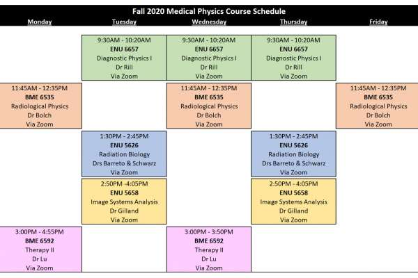 2020 Fall Schedule of Courses
