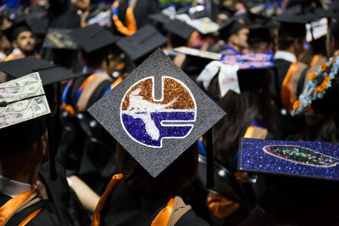 Stock photo of UF graduation cap