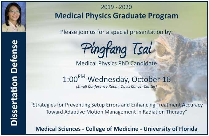 Student Pingfang Tsai PhD Defense Announcement