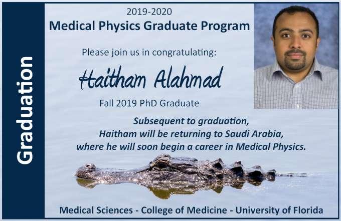Student Haitham Alahmad PhD Graduation Announcement
