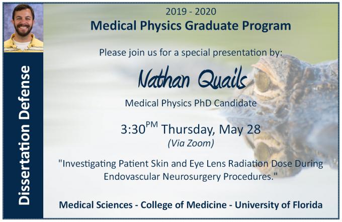 Nathan Quails' PhD Defense Announcement