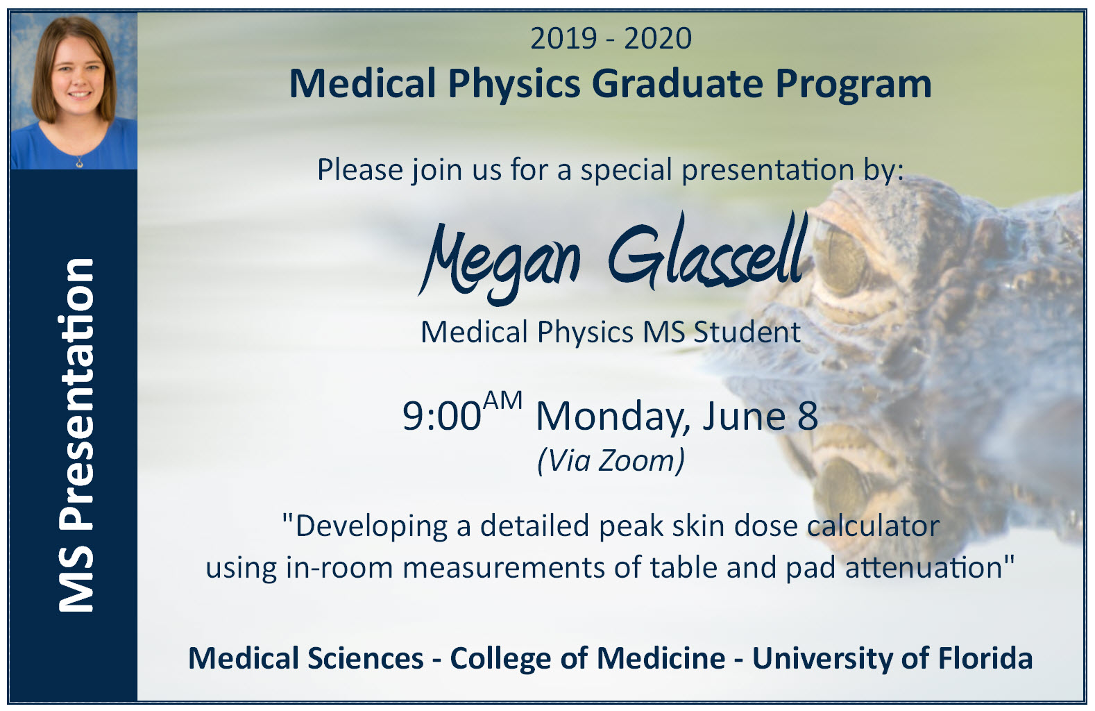 Megan Glassell MS Presentation Announcement