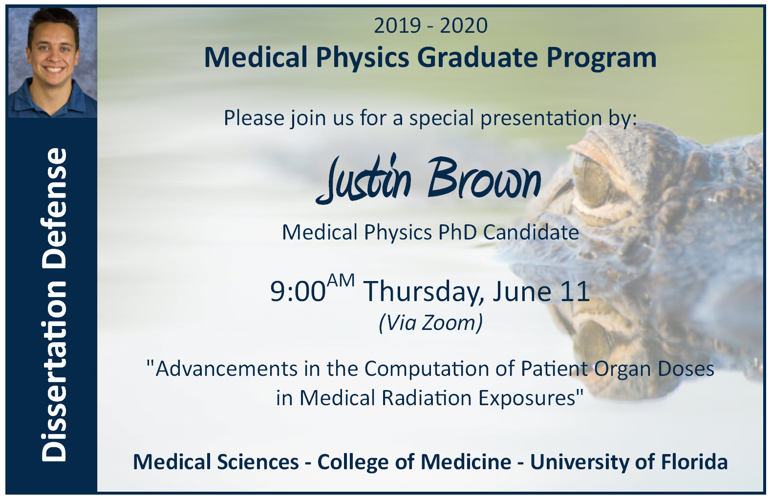 Justin Brown PhD Defense Announcement