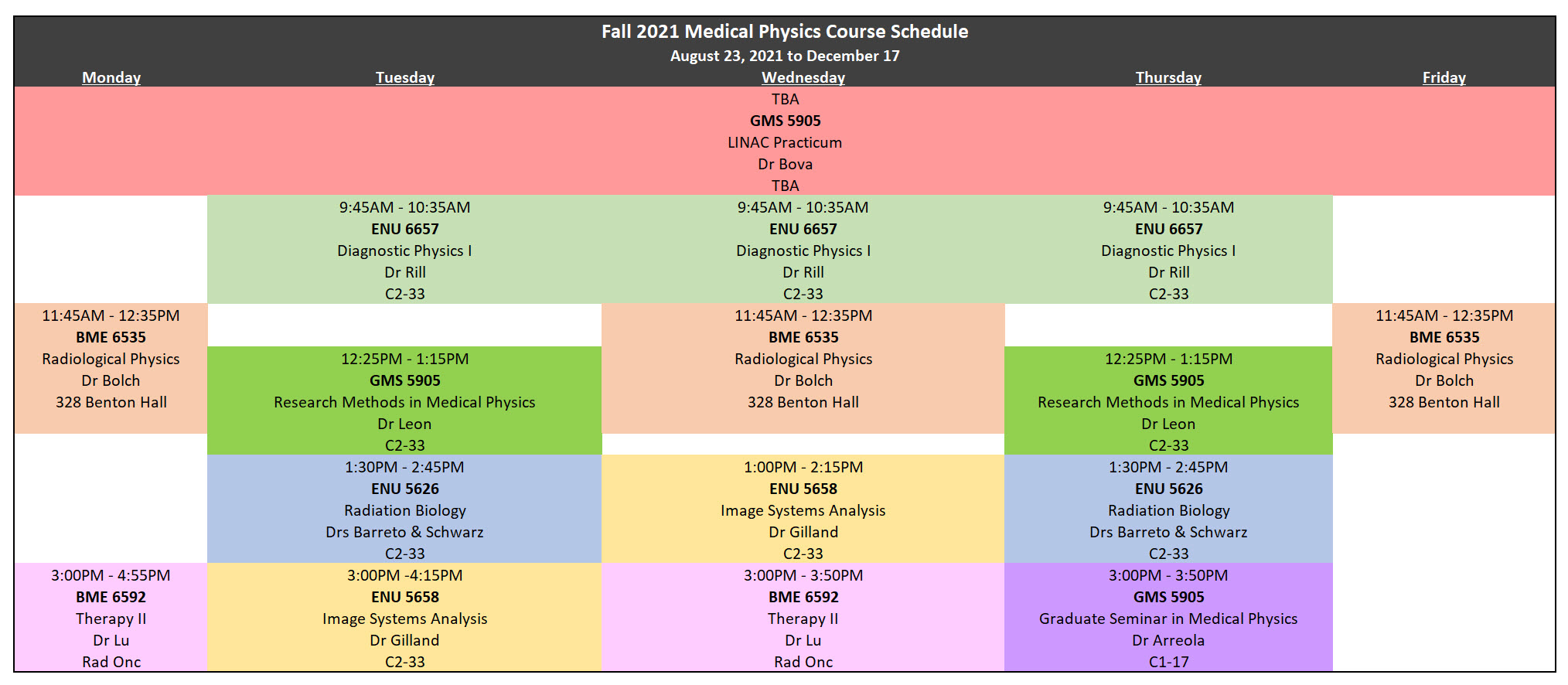 Revised Fall 2021 Schedule